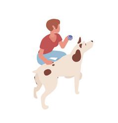 Adorable woman training dog isometric vector