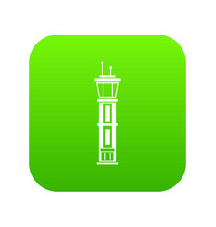 airport control tower icon digital green vector image