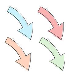 arrows colored down hand drawn sketch vector image