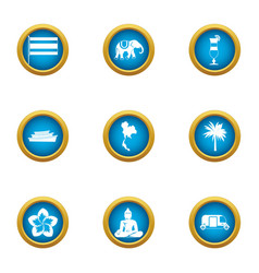 Asian cult icons set flat style vector
