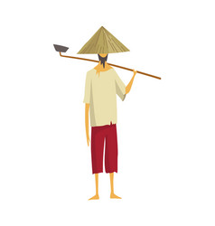 Asian farmer in straw conical hat asia rural vector