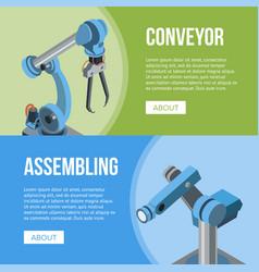 Assembling conveyor banners vector