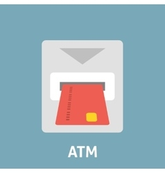 Atm card slot icon flat vector image