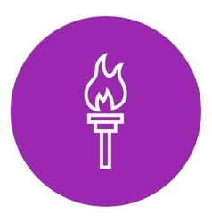 Burning olympic torch line icon vector