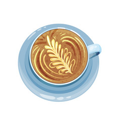 Cappuccino or latte cup with floral ornament vector