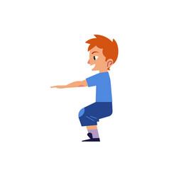 Cartoon boy kid doing squat exercises vector