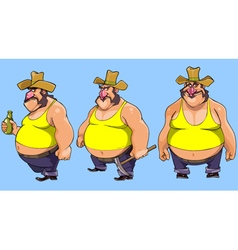 cartoon character cowboy bellied man in various vector image vector image