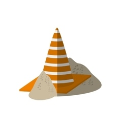 cartoon construction cone with stripes sand vector image