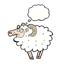Cartoon ram with thought bubble vector