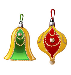 Christmas decorations with pearls bell and ball vector