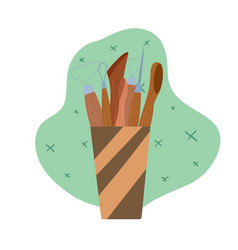 colored flat tools for pottery and sculpting vector image