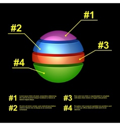 Colorful Business Pie Chart on Black Background vector image