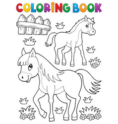 Coloring book horse with foal theme 1 vector