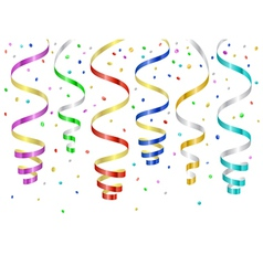 Confetti and serpentines party curled streamers vector