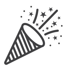 confetti popper line icon new year and christmas vector image