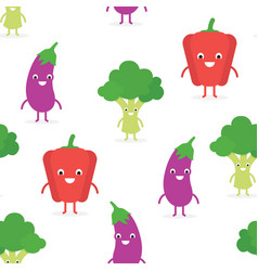 cute funny vegetables seamless pattern vector image