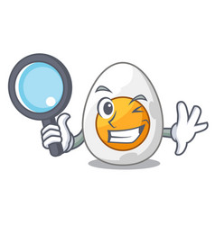 detective character hard boiled egg ready to eat vector image