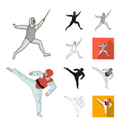 different kinds of sports cartoonblackflat vector image