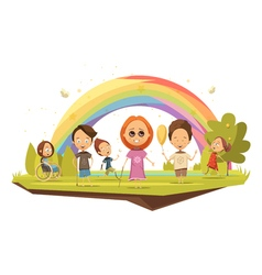 Disabled Kids Cartoon Style vector image