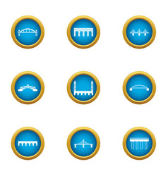 Drawbridge icons set flat style vector