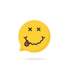 drunk yellow emoji speech bubble logo on white vector image