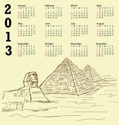 egypt pyramid vintage 2013 calendar vector image