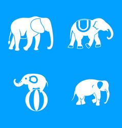 elephant icon blue set vector image