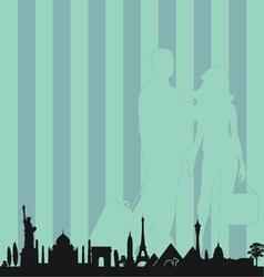 famous monument with travel couple vector image