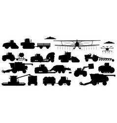 farming machinery set vehicle silhouettes vector image