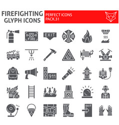 firefighter glyph icon set fireman symbols vector image