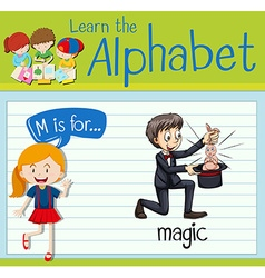 Flashcard letter m is for magic vector