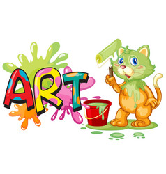 Font design for word art with cat painting on the vector