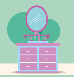 furniture washbasin and mirror cartoon bathroom vector image