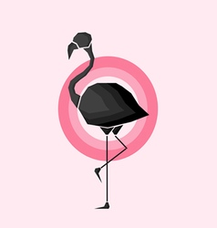 Geometric black flamingo in outlines in pink circl vector