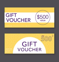Gift voucher template with colorful pattern Gift vector image