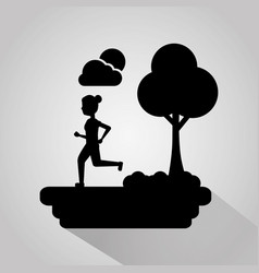 girl running in the park tree sun and cloud vector image