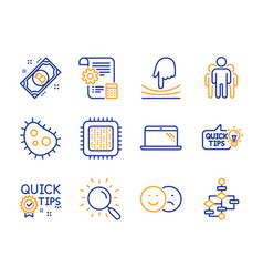group bacteria and cpu processor icons set quick vector image