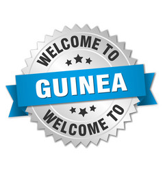 Guinea 3d silver badge with blue ribbon vector