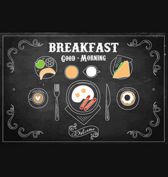 Hand drawn of tasty breakfast vector