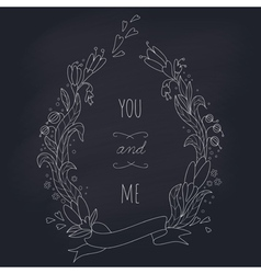 Hand drawn wedding wreath on chalkboard vector