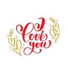 hand written inscription i love you on the vector image