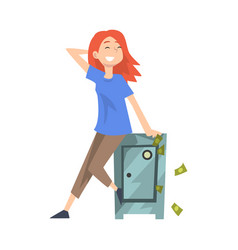 Happy wealthy young woman sitting on safe with vector