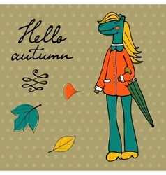 Hello autumn elegant card with cute horse vector