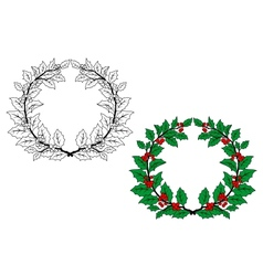 Holly christmas wreath vector image