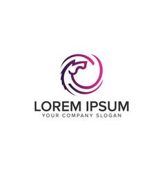 horse circle logo design concept template vector image