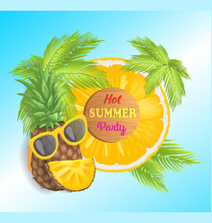 hot summer party pineapple vector image