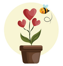house plant with hearts in stead of flowers grren vector image