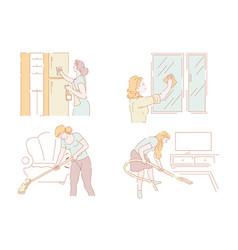 housewives and housework cleanliness and household vector image