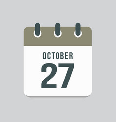 Icon day date 27 october template calendar page vector