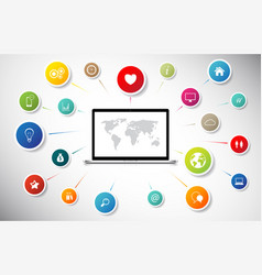 internet concept laptop connect to global social vector image